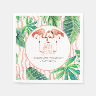 Baby Shower Decor Watercolor Pink Flamingo Leaf Paper Napkin