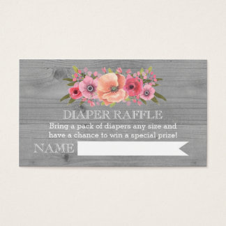 Baby Shower Diaper Raffle Card Rustic Wood Floral