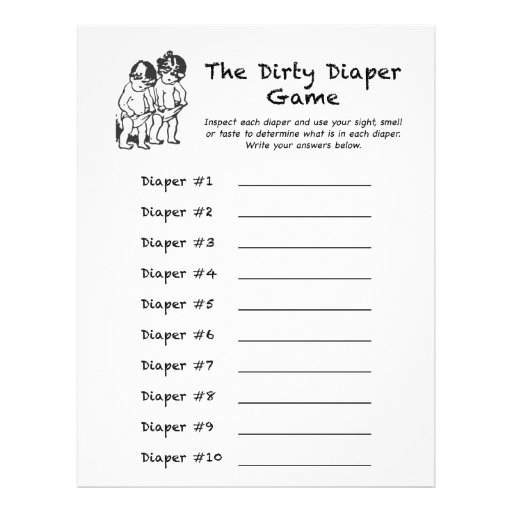 Baby Shower Dirty Diaper Game Custom Flyer