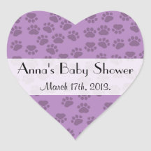 Baby Shower - Dog Paws, Paw-prints - Purple Heart Stickers