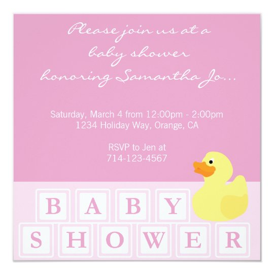 Baby Shower Duck Vertical Card