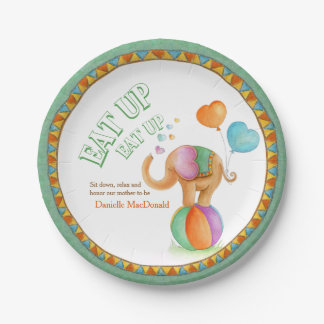 Baby Shower eat up circus style elephant art plate