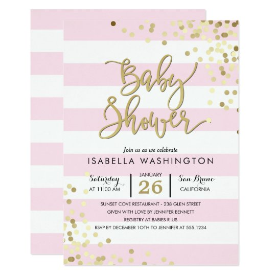 Baby Shower | Elegant Gold Confetti & Pink