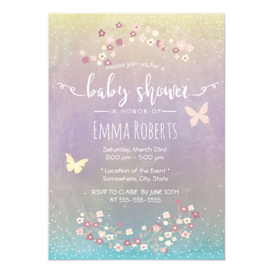 Baby Shower Elegant Watercolor Butterfly Floral Card