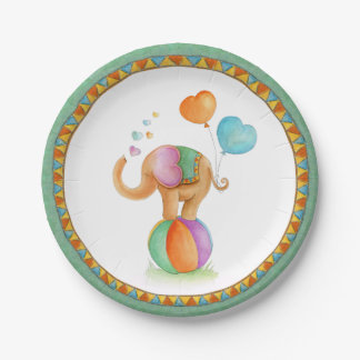 Baby Shower elephant circus whimsy art plate