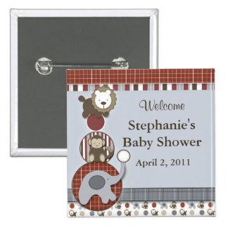 Baby Shower Elephant Monkey & Lion Button