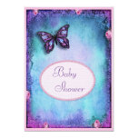 Baby Shower Faux Glitter, Butterfly, Roses, Lace 13 Cm X 18 Cm Invitation Card