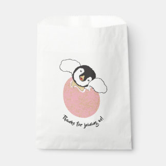 Baby Shower Favor Bag, Pink, Baby Penguin Favour Bags