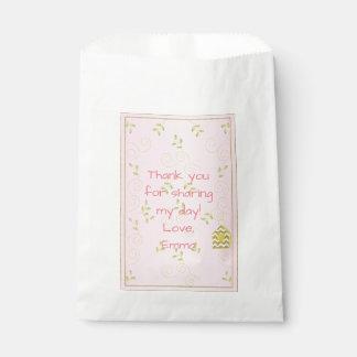 """Baby Shower Favor Bag, PINK """"Golden Birds"""" Favour Bags"""