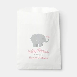 Baby Shower Favor Bags | Elephant Blush Pink Gray Favour Bags