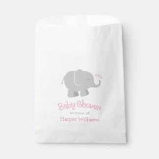 Baby Shower Favor Bags | Elephant Pink and Gray Favour Bags