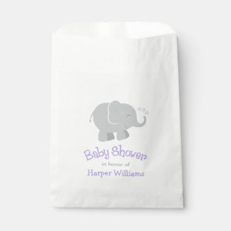 Baby Shower Favor Bags | Elephant Purple Gray Favour Bags