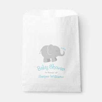Baby Shower Favor Bags | Elephant Sky Blue Gray