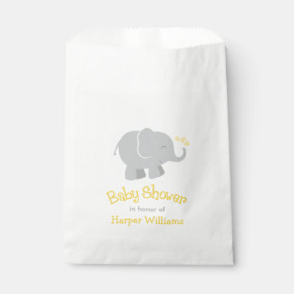 Baby Shower Favor Bags | Elephant Yellow Gray Favour Bags