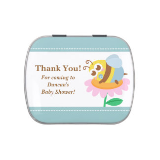 Baby Shower Favor - Cute baby Bee rest on flower Candy Tins