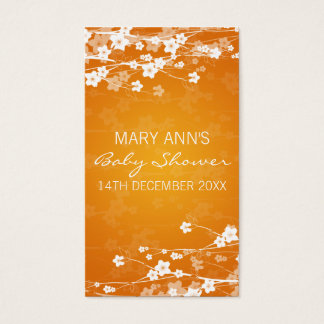 Baby Shower Favor Tag Cherry Blossom Orange Business Card