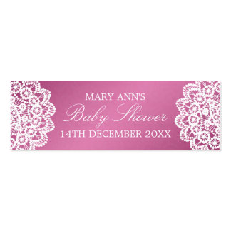 Baby Shower Favor Tag Vintage Lace Pink Double-Sided Mini Business Cards (Pack Of 20)