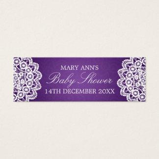 Baby Shower Favor Tag Vintage Lace Purple