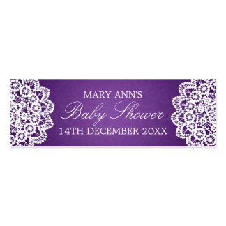 Baby Shower Favor Tag Vintage Lace Purple Double-Sided Mini Business Cards (Pack Of 20)