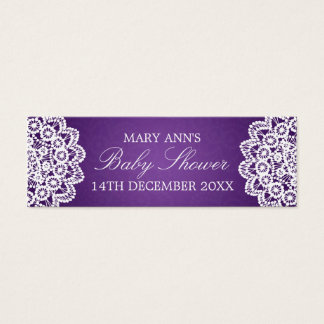 Baby Shower Favor Tag Vintage Lace Purple Mini Business Card