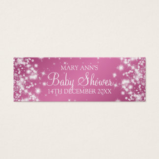 Baby Shower Favor Tag Winter Sparkle Pink