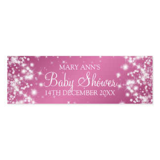 Baby Shower Favor Tag Winter Sparkle Pink Double-Sided Mini Business Cards (Pack Of 20)