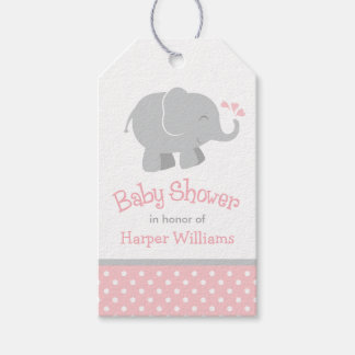 Baby Shower Favor Tags | Blush Pink Gray Elephant