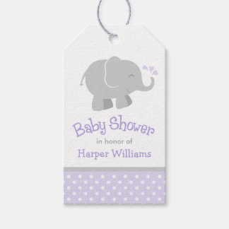 Baby Shower Favor Tags | Elephant Purple Gray