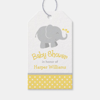 Baby Shower Favor Tags | Elephant Yellow Gray