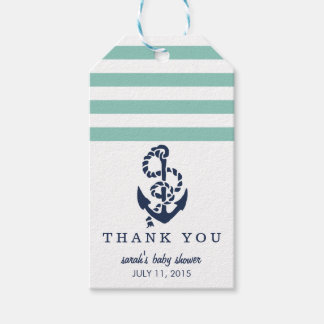 Baby Shower Favor Tags | Mint Nautical Stripe
