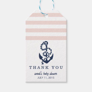 Baby Shower Favor Tags | Pink Nautical Stripe