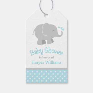 Baby Shower Favor Tags | Sky Blue Gray Elephant
