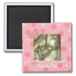Baby Shower Favour Dots and Hearts Square Magnet
