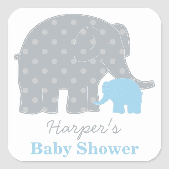 Baby Shower Favour Sticker | Elephant Grey and
