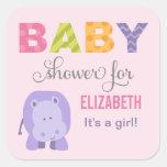 Baby Shower Favour Sticker | Hippo Jungle Animal