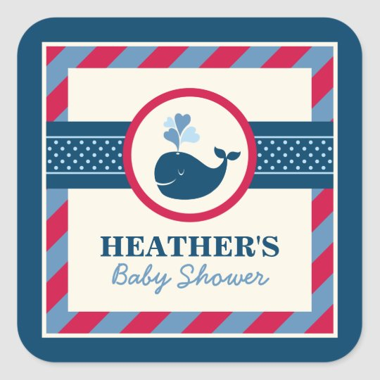 Baby Shower Favour Sticker | Nautical Preppy Whale