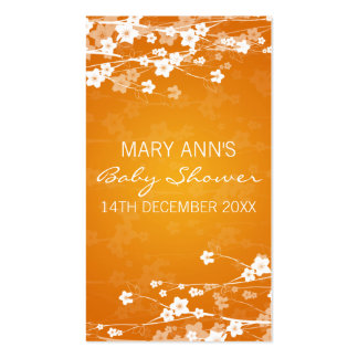 Baby Shower Favour Tag Cherry Blossom Orange Pack Of Standard Business Cards