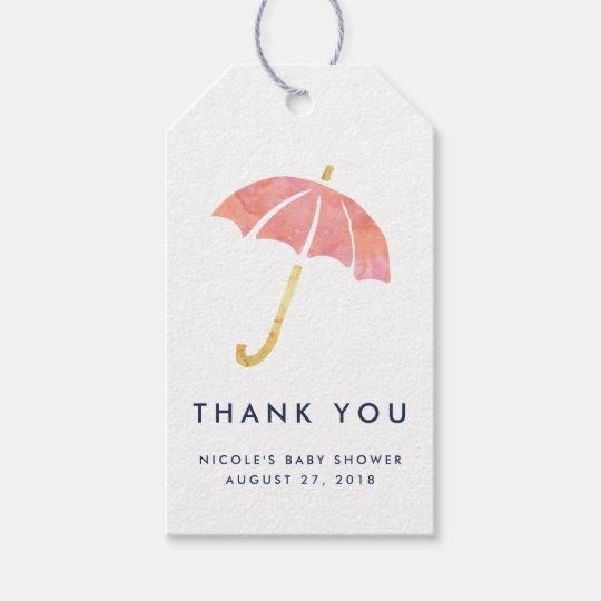 Baby Shower Favour Tags   Coral Umbrella