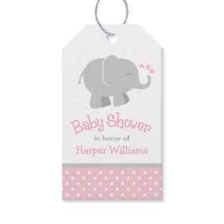 Baby Shower Favour Tags | Elephant Pink Grey