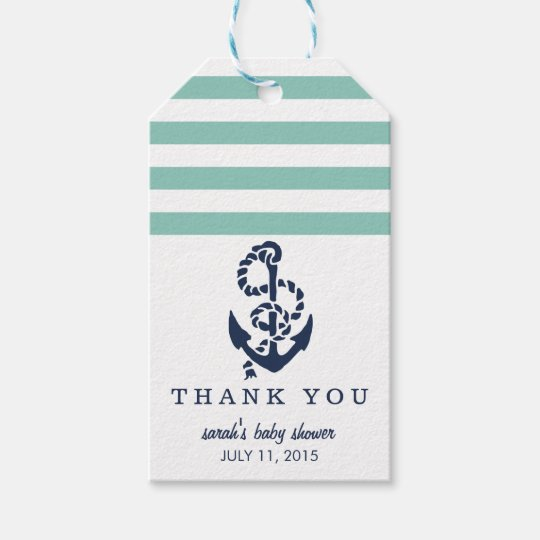 Baby Shower Favour Tags | Mint Nautical Stripe