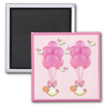 baby shower favours twin girls square magnet