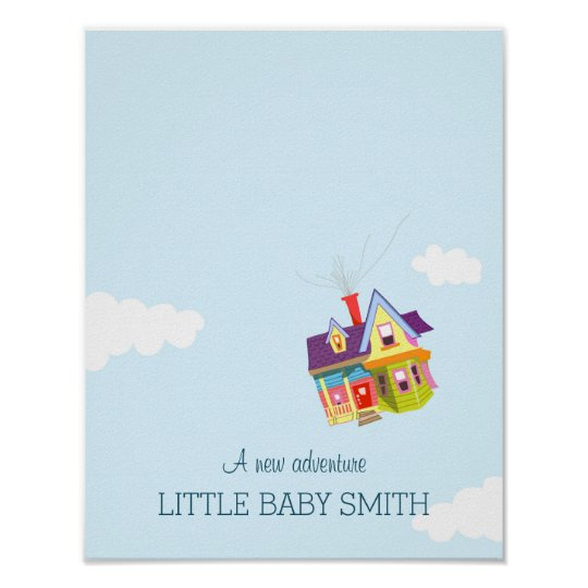 Baby shower fingerprint guestbook Floating House Poster