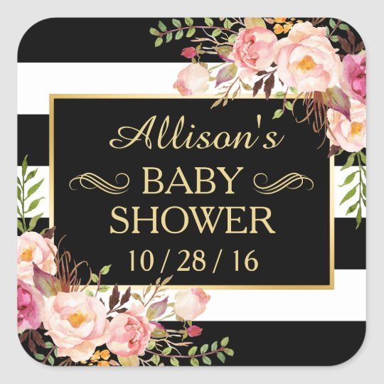 Baby Shower Floral Black White Striped Gold Frame