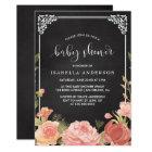 Baby Shower | Floral Bouquet & Frame on Chalkboard Card