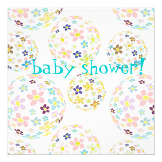 Baby Shower Floral bubbles Invites
