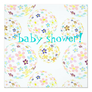 Baby Shower Floral bubbles Invites