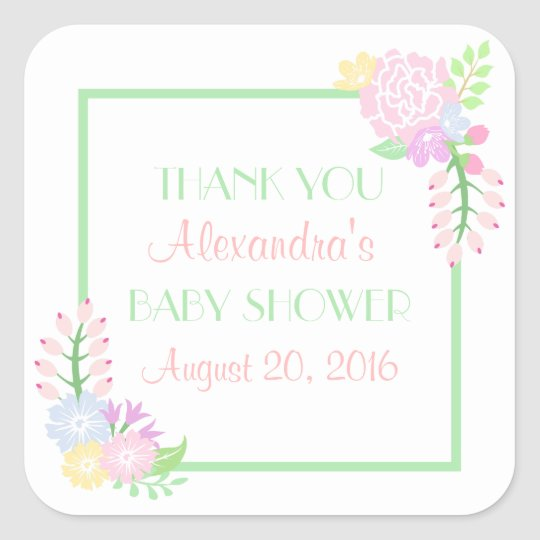 Baby Shower Floral Square Stickers, Glossy Square Sticker