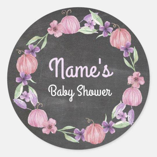 Baby Shower Flower Wreath Pumpkin Pink Sticker