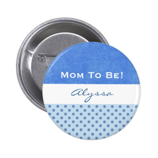 Baby Shower for Boy Blue Polka Dots 6 Cm Round Badge