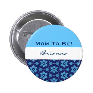 Baby Shower for Boy Retro Blue Stars V10 6 Cm Round Badge